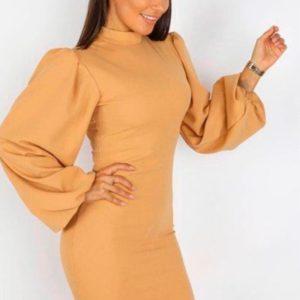 Купить дешево женское трикотажное платье с рукавами объемными бежевого цвета в подарок