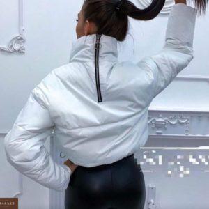 Заказать в подарок женскую короткую куртку на весну змейка сзади цвета белого недорого