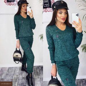 Приобрести в интернет-магазине женский прогулочный костюм батник + штаны из ангоры зеленого цвета дешево