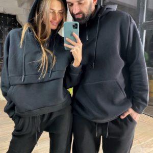 Приобрести недорого женский теплый спортивный костюм с капюшоном на флисе черного цвета оптом Украина