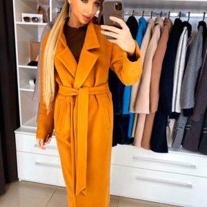 Приобрести недорого женское длинное кашемировое пальто с поясом на подкладке оранжевого цвета оптом Украина