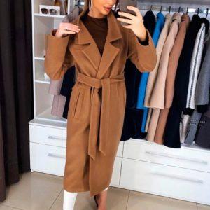 Купить дешево женское пальто длинное кашемировое с поясом на подкладке коричневого цвета в подарок