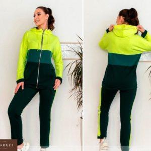 Заказать в интернет-магазине женский спортивный костюм из ангоры с капюшоном зеленого цвета батал дешево