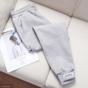 Приобрести недорого женские спортивные брюки с нашивкой серого цвета оптом Украина