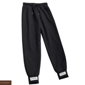 Заказать в подарок женские брюки спортивные с нашивкой черного цвета дешево