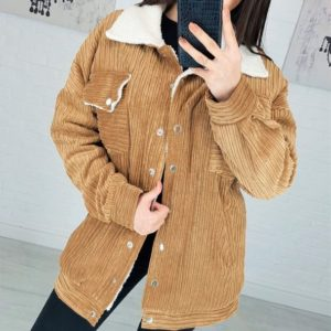Заказать в подарок женскую вельветовую удлиненную куртку на подкладке горчичного цвета дешево