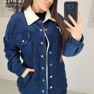Заказать в подарок женскую удлиненную куртку вельветовую на подкладке синего цвета недорого