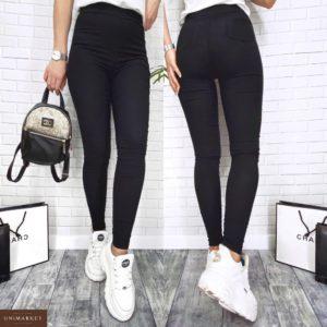 Заказать в подарок женские лосины джинсовые черного цвета дешево