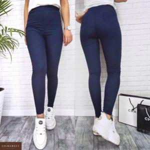 Приобрести недорого женские джинсовые лосины синего цвета оптом Украина