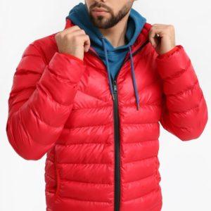 Заказать недорого мужскую куртку из био пуха дутик красного цвета батал в подарок