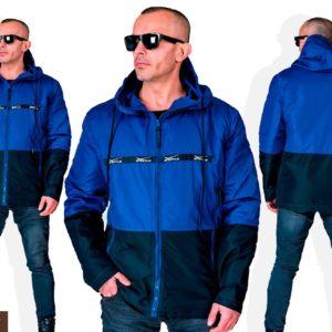 Приобрести в подарок мужскую куртку легкую из плащевки на змейке с капюшоном цвета индиго/черный оптом Украина