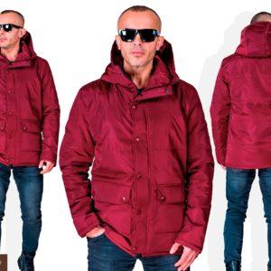 Купить дешево мужскую весеннюю куртку на синтепоне цвета бордо недорого