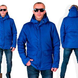 Купить в интернет-магазине мужскую куртку весеннюю на синтепоне цвета индиго дешево