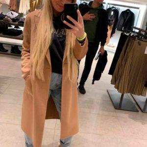 Заказать в подарок женское пальто на подкладке из кашемира цвета бежевого дешево