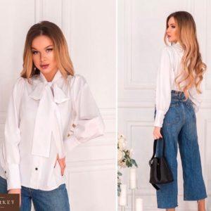Заказать в подарок женскую рубашку из софта с бантом белого цвета дешево