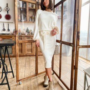 Замовити в подарунок жіночу сукню з поясом молочне з рукавами з рубчик ангори дешево