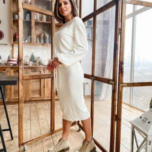 Придбати недорого жіноче молочне плаття з рукавами з ангори рубчик з поясом оптом Україна