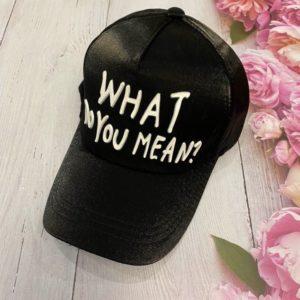 Заказать в подарок женскую кепку c регулятором весеннюю с надписью what do you mean черного цвета дешево