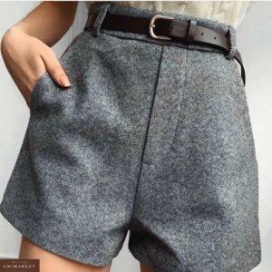 Заказать в подарок женские шорты твидовые с высокой талией на подкладке с поясом в комплекте серого цвета дешево