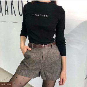 Купить дешево женские твидовые шорты с талией высокой с поясом в комплекте на подкладке бежевого цвета в подарок