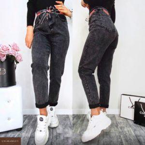 Заказать в подарок женские джинсы серые мом с лентой дешево