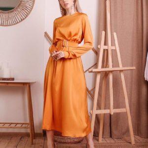 Приобрести недорого женское платье миди из нежного шелка с юбкой солнце оранжевого цвета оптом Украина