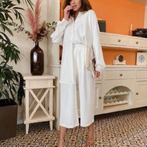 Заказать в подарок женский костюм: штаны + рубашка из шелка цвета молока дешево
