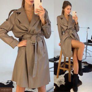Заказать в подарок женское тренч-платье из кожи эко цвета мокко дешево