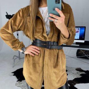 Заказать в подарок женское вельветовое рубашка-платье с поясом цвета медового недорого