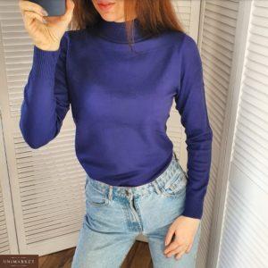 Заказать в Украине женский синий гольф с горловиной-стойкой