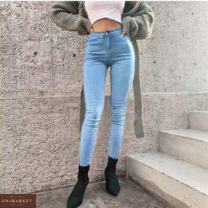 Купить по низкой цене женские джинсы скинни с высокой талией без карманов светло-голубые по выгодной цене