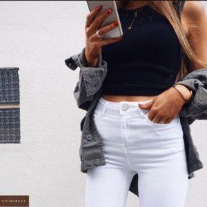 Купить женские белые джинсы скинни с высокой талией в Украине