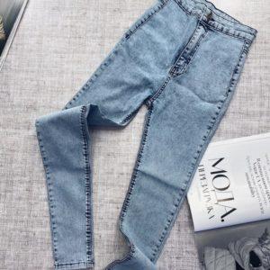 Приобрести в интернет-магазине женские джинсы скинни с высокой талией без карманов серо-голубые недорого