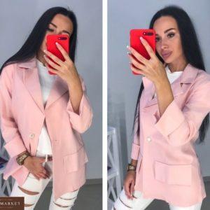 Купить женский розовый льняной жакет свободного кроя в Украине