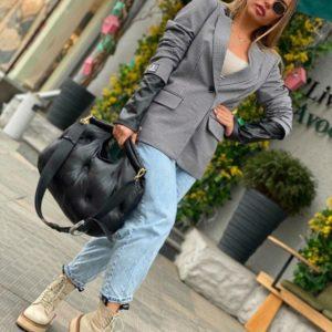 Заказать онлайн женский серый жакет со вставками из перламутровой эко кожи (размер 40-54) выгодно