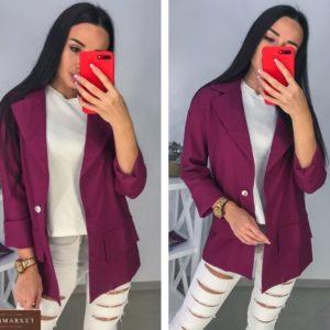 Заказать женский бордовый льняной жакет свободного кроя онлайн