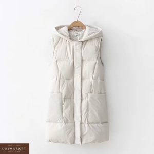 Купить женский утепленный белый жилет с водоотталкивающими свойствами в Украине недорого