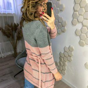 Купить в Украине женский двухцветный кардиган с поясом серо-розовый дешево
