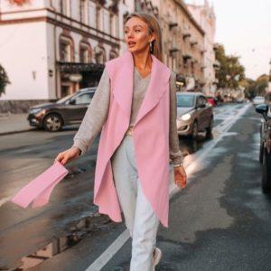 Приобрести женский розовый кашемировый кардиган-жилет с капюшоном (размер 42-48) по дешевым ценам