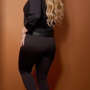 Купить женские черные леггинсы с резинкой на поясе (размер 42-60) дешево в Украине