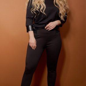 Заказать онлайн женские черные леггинсы с резинкой на поясе (размер 42-60) недорого