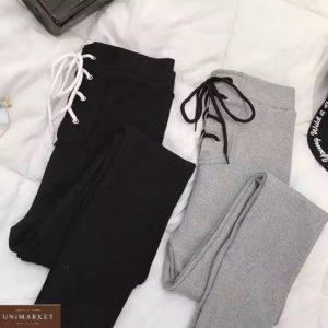 Купить в интернете женские черные лосины на шнурках в Украине