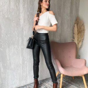 Купить женские черные кожаные лосины с высокой посадкой дешево
