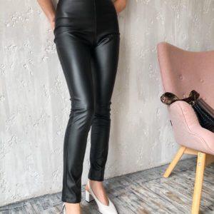 Заказать в Украине женские черные кожаные лосины с высокой посадкой
