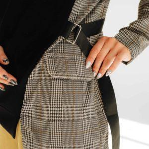 Заказать женскую черно-серую свободную тунику с имитацией пиджака (размер 42-56) онлайн дешево