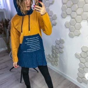 Купить онлайн женскую тунику-худи с джинсовым капюшоном (размер 42-48) джинсовую недорого