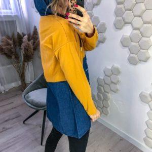 Заказать в Украине женскую джинсовую тунику-худи с джинсовым капюшоном (размер 42-48) по скидке