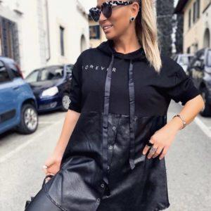 Приобрести женскую черную тунику с капюшоном из эко кожи (размер 42-56) онлайн