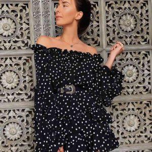 Заказать женское платье с открытой спинкой на завязках черное дешево онлайн