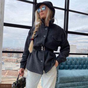 Купить женское пальто-рубашка на подкладке, ремень в комплекте в интернет-магазине